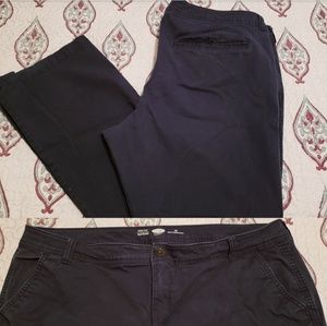 2 pair of Old Navy bootcut khakis. GUC